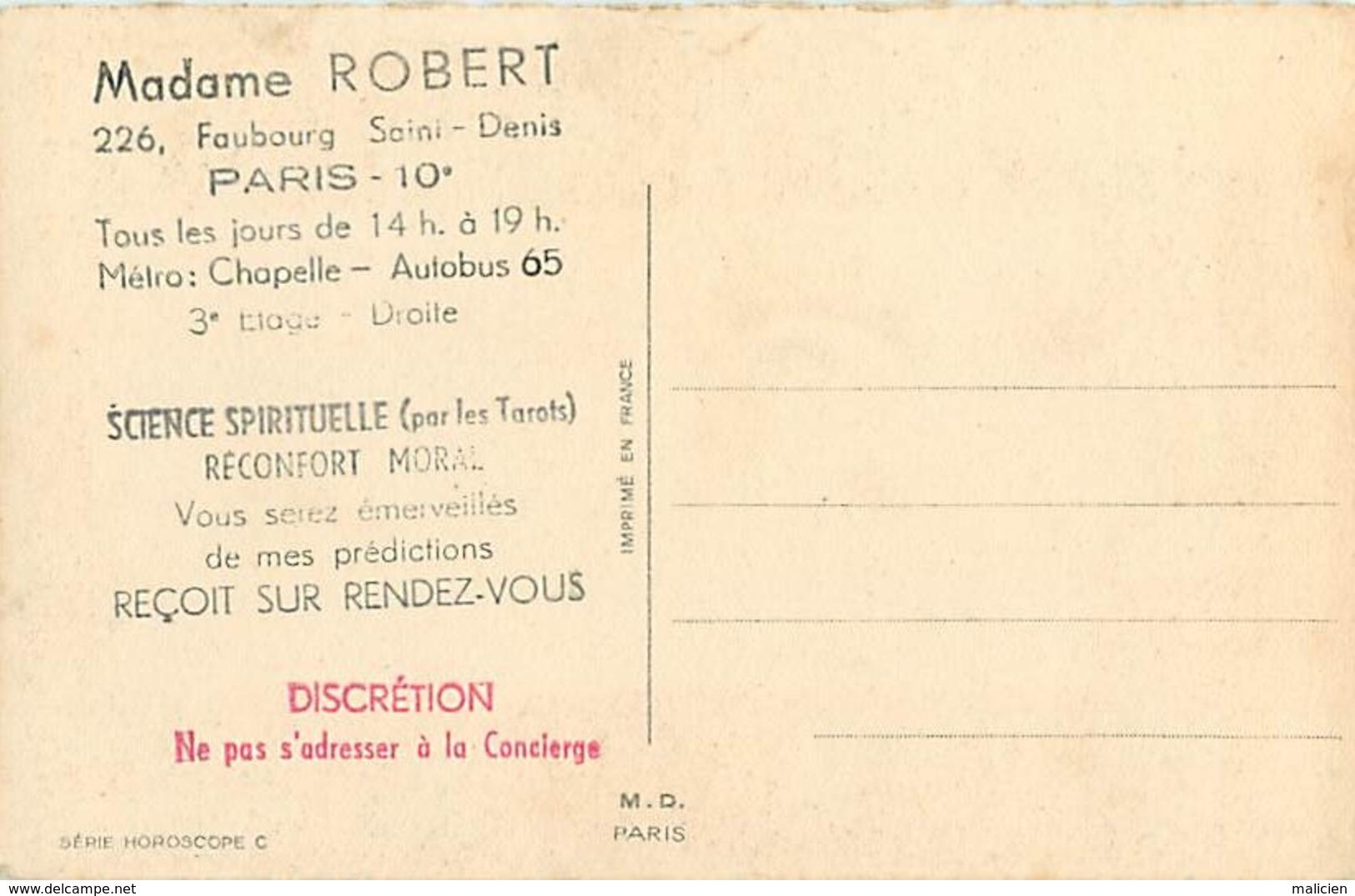 -ref-B75- Astrologie - Horoscope - Zodiaque - Sagittaire - Verso Publicité Mme Robert - Faubourg Saint Denis - Paris 10e - Astrologie