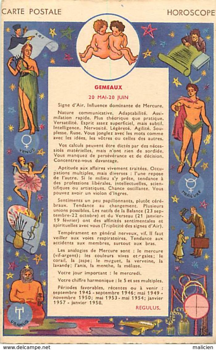 -ref-B74- Astrologie - Horoscope - Zodiaque - Gémaux  - Verso Publicité Mme Robert - Faubourg Saint Denis - Paris 10e - Astrologie