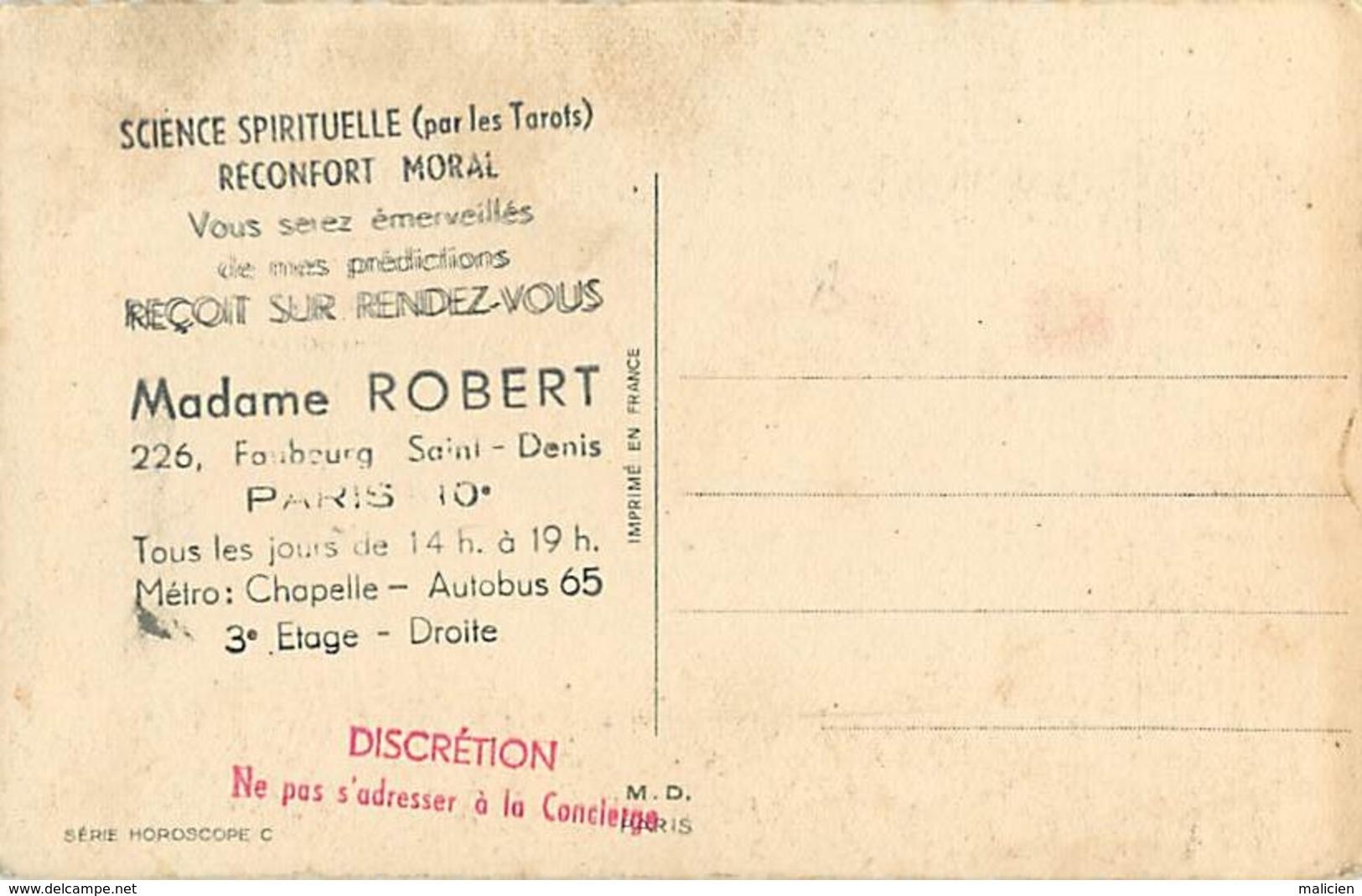 -ref-B71- Astrologie - Horoscope - Zodiaque - Vierge - Verso Publicité Mme Robert - Faubourg Saint Denis - Paris 10e - Astrologie