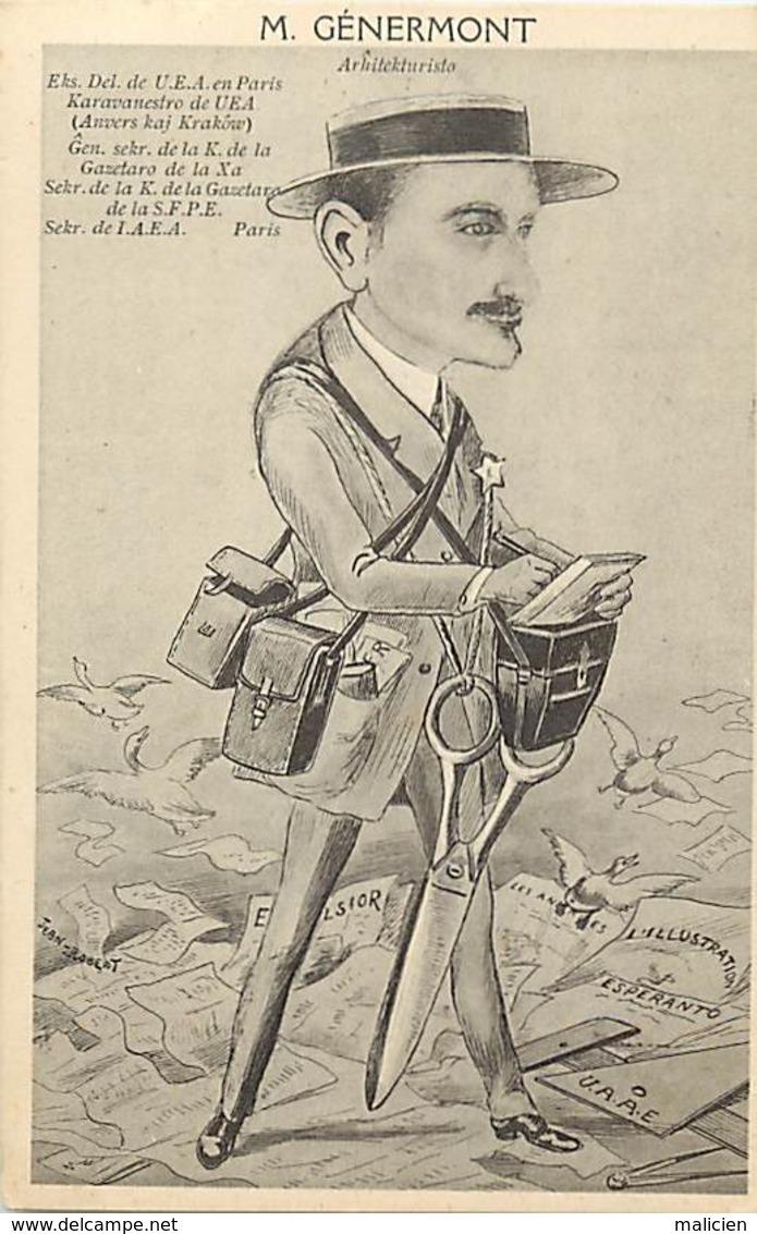 -ref-B66- Illustateurs - Illustrateur Jean Robert - M. Genermont - Esperanto - Anvers Kaj Krakow - Belgique - Pologne - - Robert