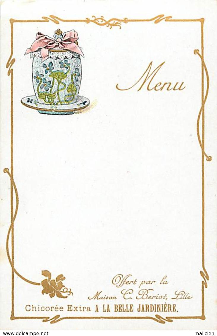 -ref-B65- Nord - Lille - Publicite Maison C. Beriot - Chicoree Extra A La Belle Jardiere - Menu -menus - Bon Etat - - Lille