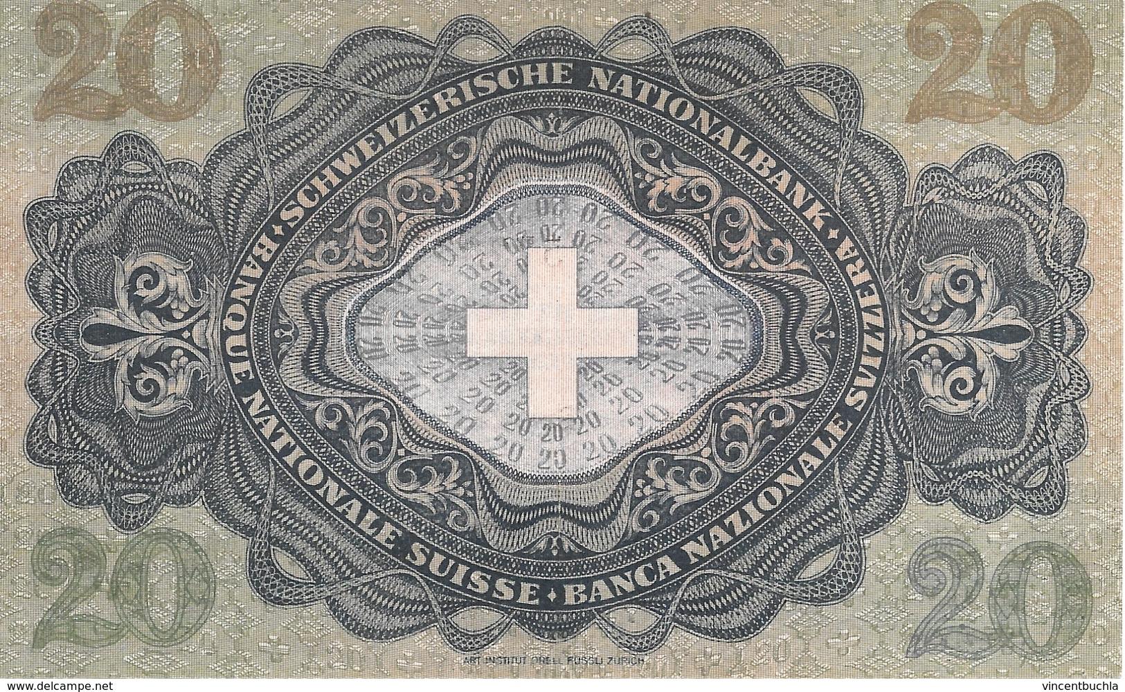 Billet 20 Francs Suisse Modèle 1929-1950 Pestalozzi 16/10/1947 Série 21 F Parfaitement Neuf - Suisse