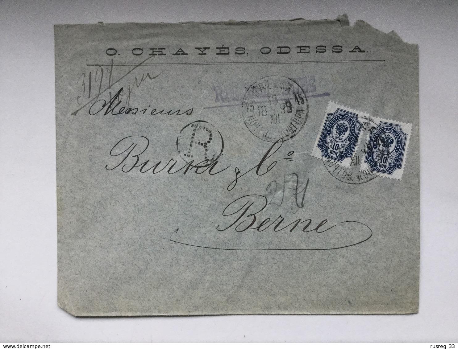 K6 Russia Russie 1899 R-Brief Von Odessa Nach Bern - 1857-1916 Imperium