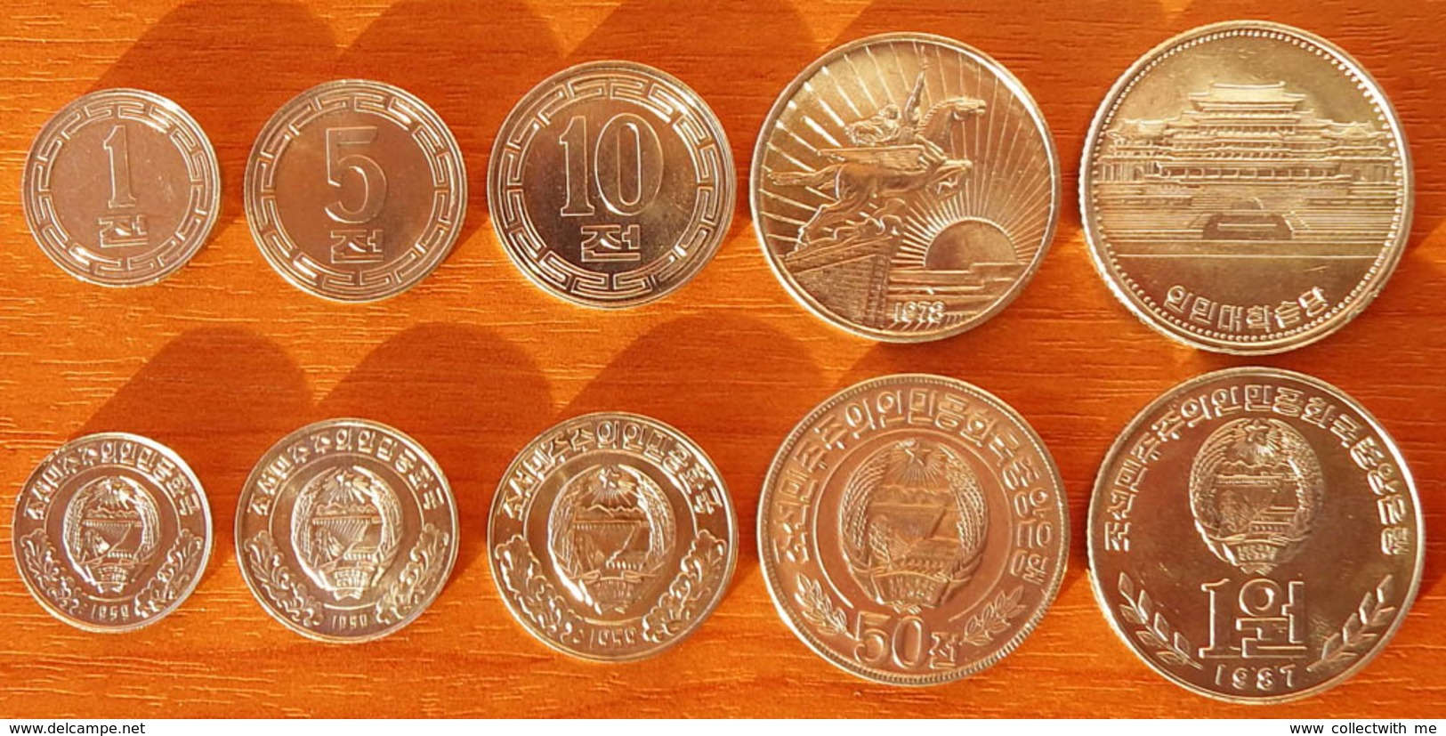 North Korea DPRK 5 Coins 1959-1978 AUNC/UNC - Corea Del Nord