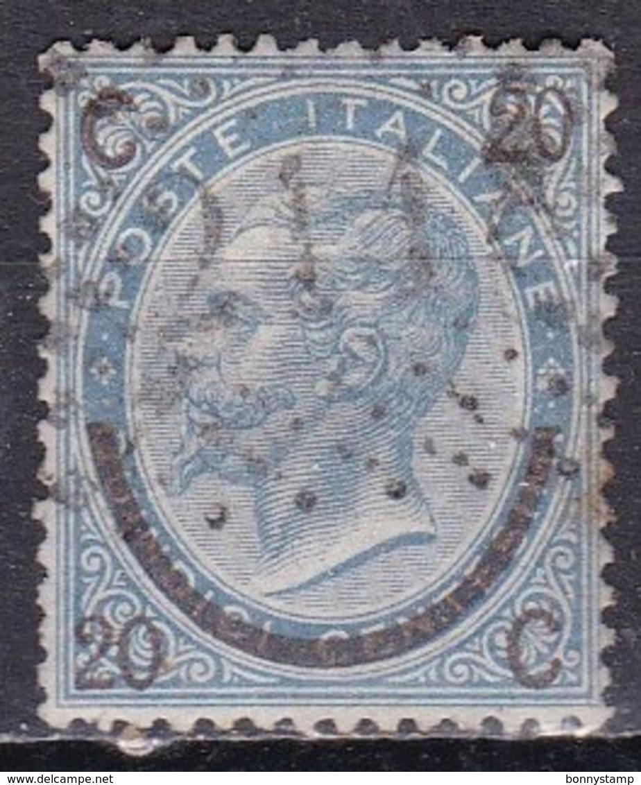 Regno D'Italia, 1865 - 20c Su 15c Ferro D Cavallo, III° Tipo - Nr.25 Usato° - 1861-78 Vittorio Emanuele II