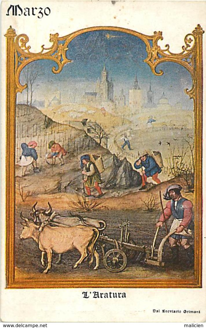 -ref-B19- Agriculture - Cultures - L Aratura - Le Labourage - Marzo - Mars - Mois De L Année - Del Greviario Grimani - - Cultures