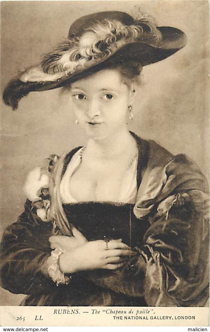 -ref-B18- Arts - Tableaux - Tableau Le Chapeau De Paille - Chapeaux - Peintre Rubens - Femme - Femmes - - Peintures & Tableaux