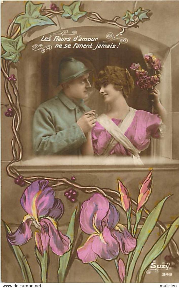 -ref-B14- Patriotiques - Guerre 191-14 - Couples - Fleurs D Amour .. - Iris - Carte Bon Etat - - Patriotiques