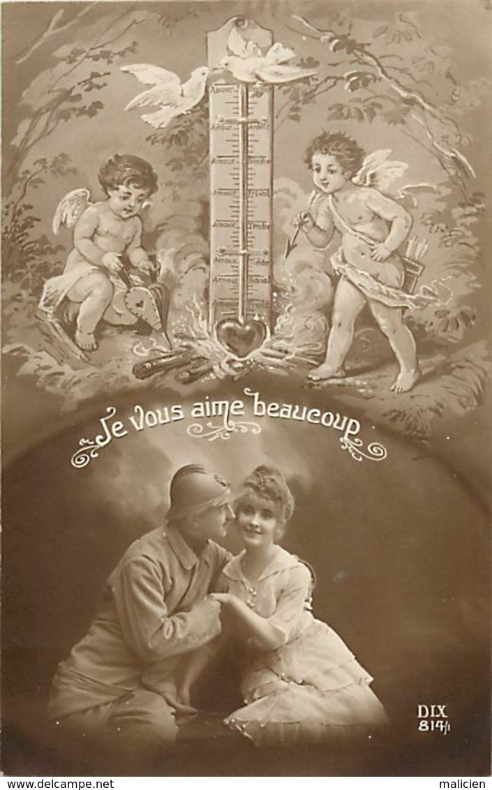 -ref-B12- Patriotiques - Guerre 191-14 - Couples - Angelots - Thermometre - .. Beaucoup ..-  Carte Bon Etat - - Patriotiques