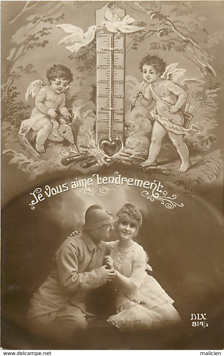 -ref-B11- Patriotiques - Guerre 191-14 - Couples - Angelots - Thermometre - .. Tendrement  ..-  Carte Bon Etat - - Patriotiques