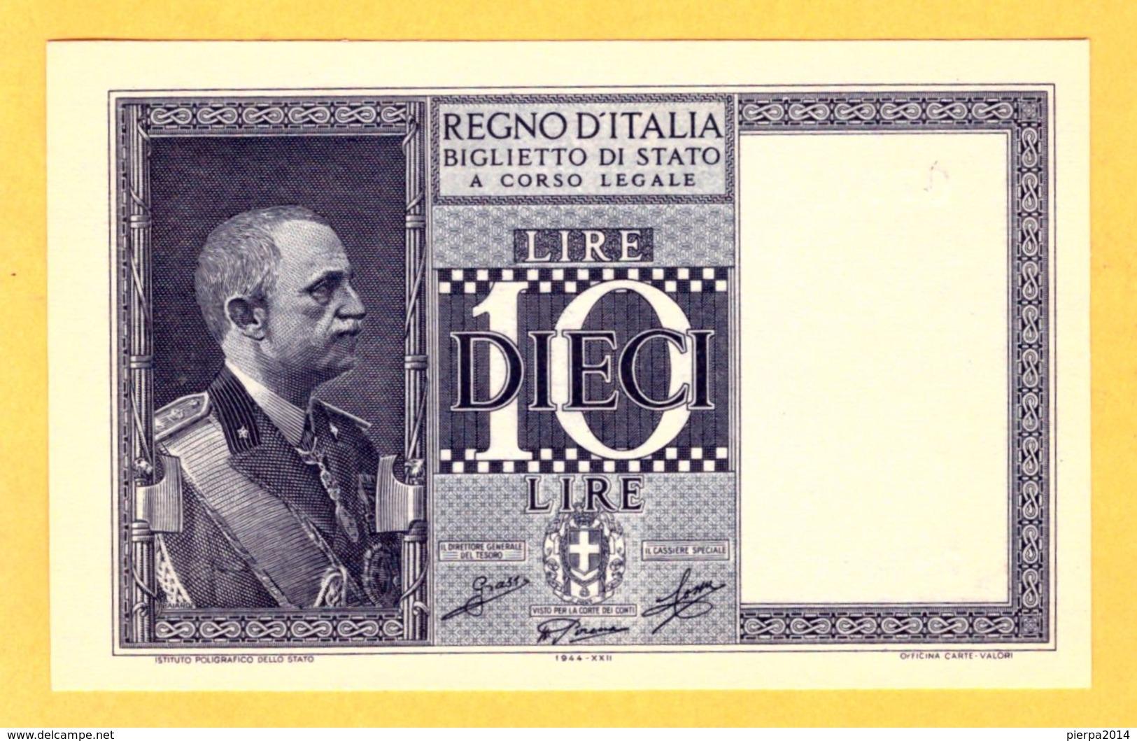 ITALY 10 LIRE, BIGLIETTO DI STATO - 1944 FDS - Pick 25c - [ 1] …-1946 : Kingdom