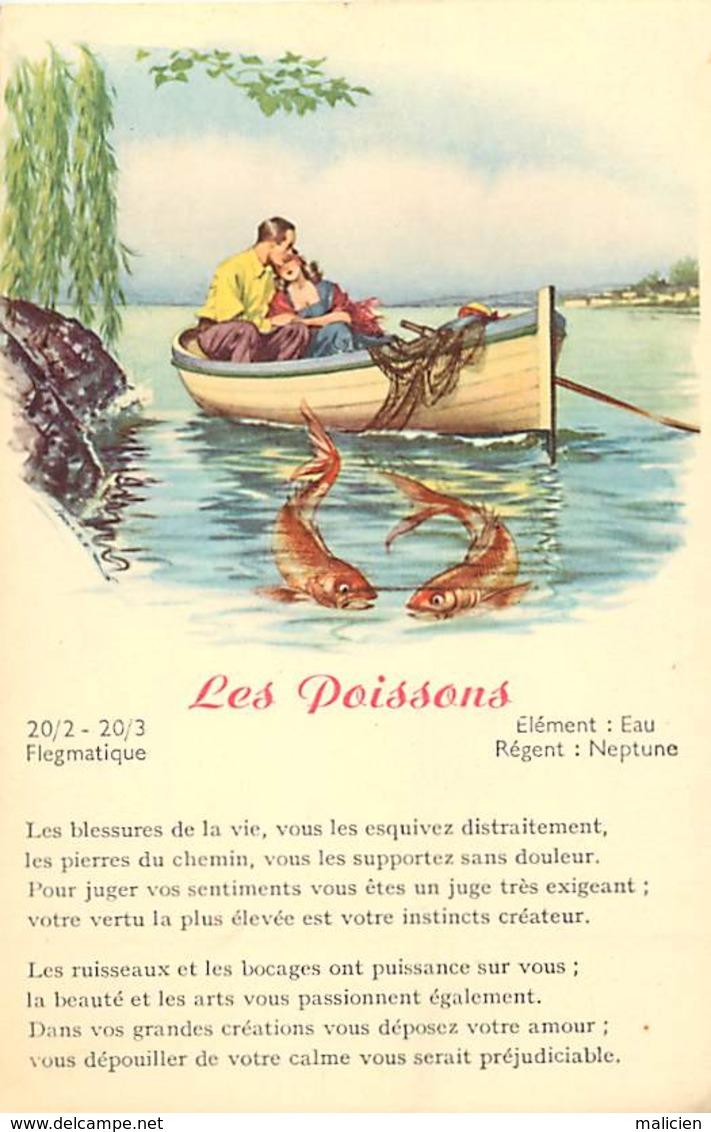 -ref-B03- Astrologie - Zodiaque - Les Poissons - Horoscope - Carte Bon Etat - - Astrologie
