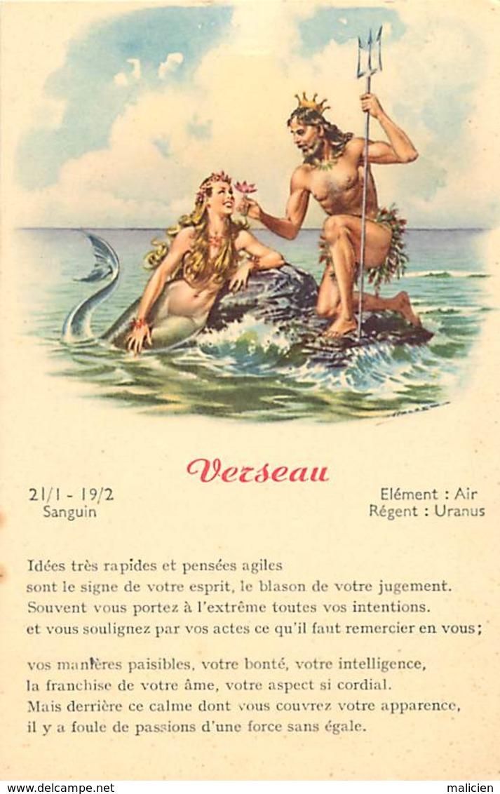 -ref-B02- Astrologie - Zodiaque - Verseau  - Horoscope - Carte Bon Etat - - Astrologie