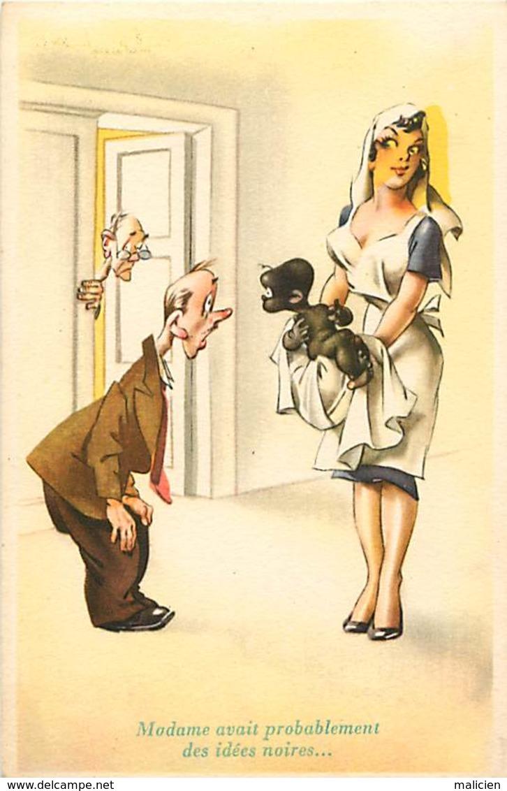 -ref-B01- Humour - Humoristiques - Les Idées Noires De Madame ... Maternité - Infirmiere - Santé - Carte Bon Etat - - Humour