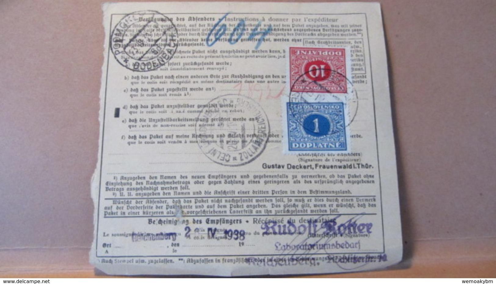 """DR: Paketkarte 1938 """"Gebühr Bezahlt"""" Frauenwald 22.4.38 über Dresden Nach Liberec Tschechoslowakei - Deutschland"""