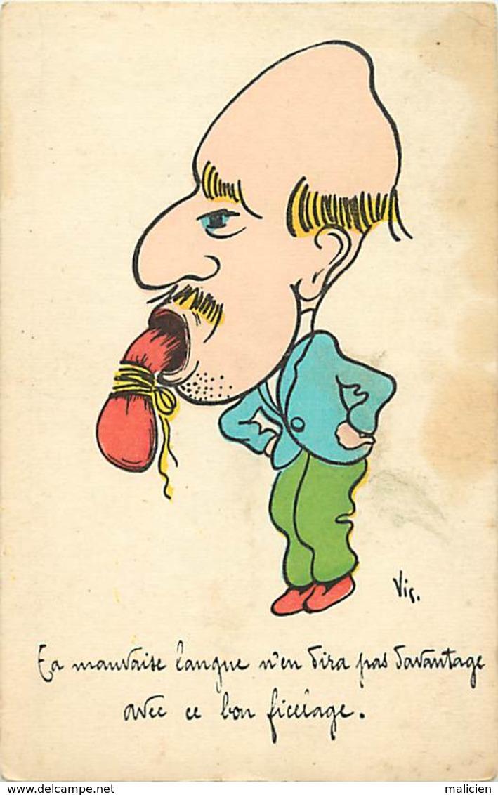 -ref-A991- Humour - Humoristiques - Grimace - Grimaces - Mauvaise Langue . Illustrateur Vis - Illustrateurs - - Humour