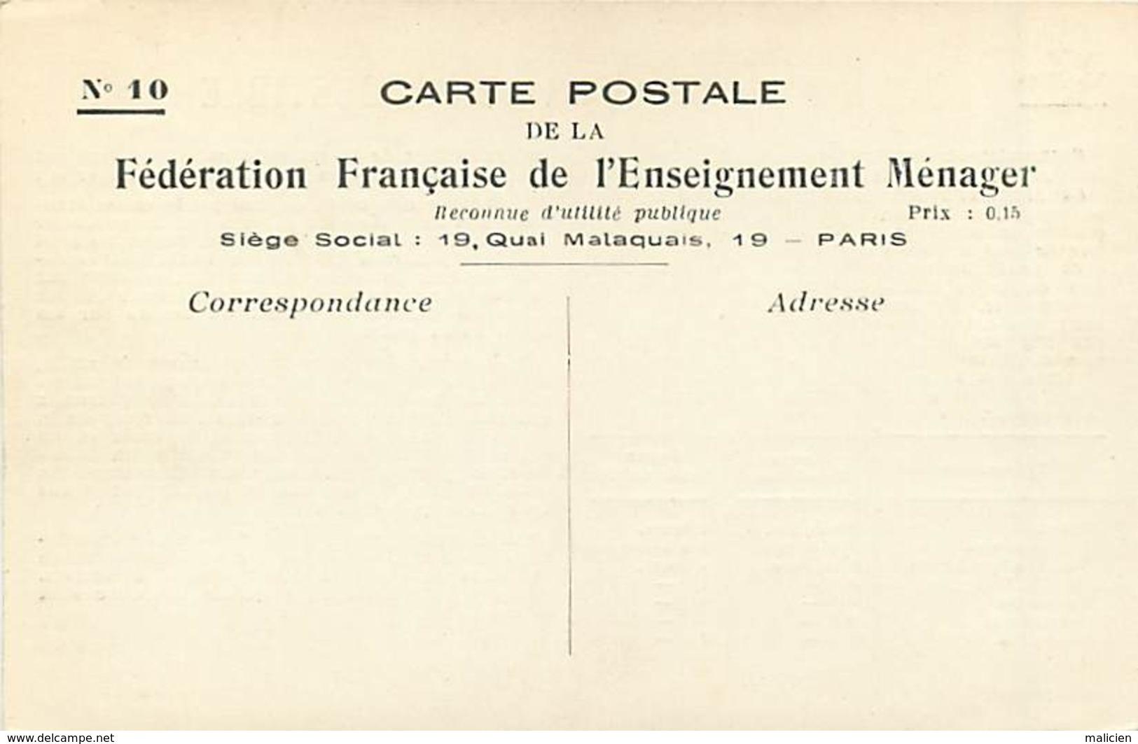 -ref-A981- Recettes - Federation Française De L Enseignement Menager - N°10 - Le Combustible - Ecole - Ecoles - - Recettes (cuisine)