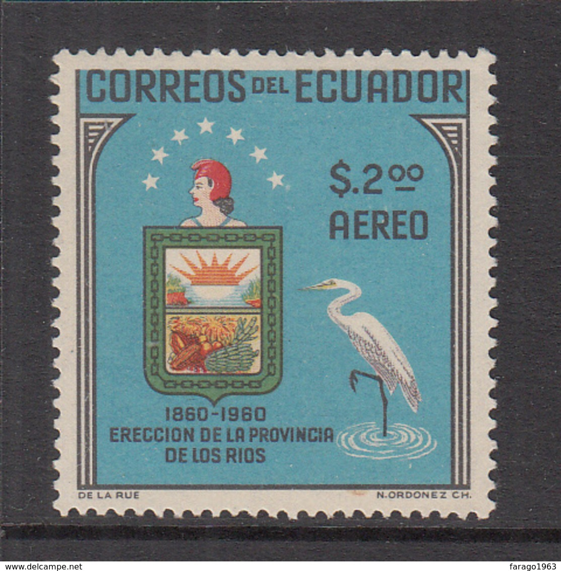 1961 Ecuador Birds Oiseaux  Heron Coat Of Arms Complete Set Of 1 MNH - Ecuador