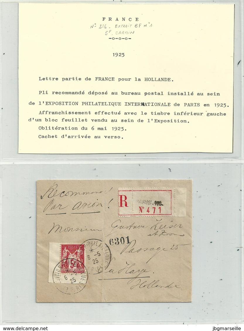 LR Du 6 Mai 1925....expo Philatélique De  Paris ...avec N°216 (extrait Du Bloc Feuillet)....à Voir.... - France