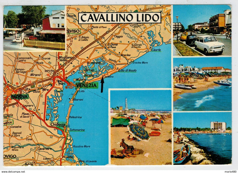 CAVALLINO  LIDO  (VE)  DALLA  CARTA  AUTOMOBILISTICA  DEL T.C.I.         (VIAGGIATA) - Italia
