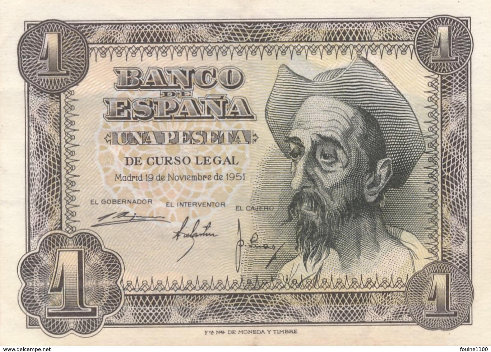 Billet De Banque Espagne Espana  1 Peseta  1951 - [ 3] 1936-1975 : Régence De Franco