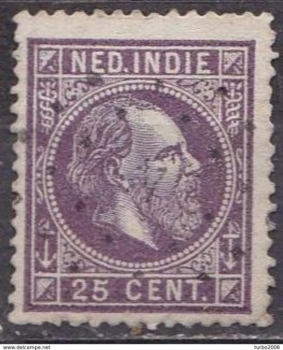 Ned. Indië: 1870 Koning Willem III 25 Cent Donkerpaars Kamtanding 13 ½  : 13 ¼  Gr. G.  NVPH 13 E - Indes Néerlandaises