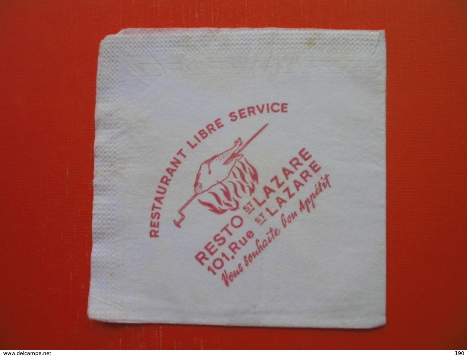 Paper Napkin.RESTAURANT RESTO ST.LAZARE - Reclameservetten