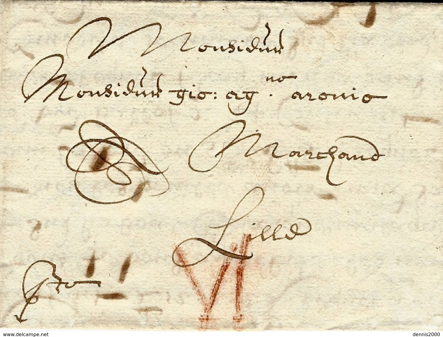 1670- Letter From Middelbourg  To LiLLE Red Rating VI Patars - Pays-Bas