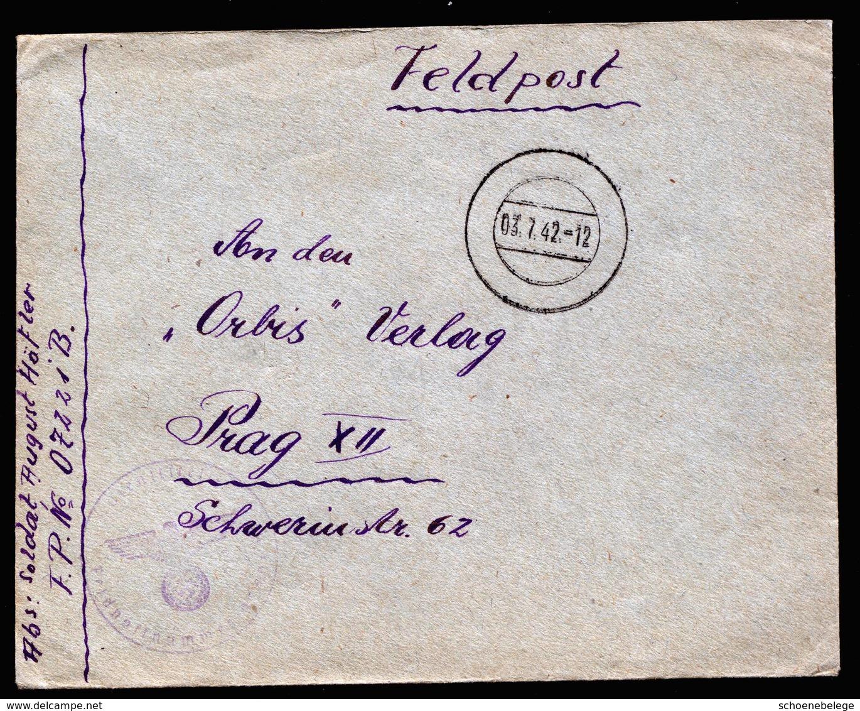 A5782) DR Feldpostbrief 03.07.42 FP-Nr. 07221B N. Prag Tarnstempel - Deutschland
