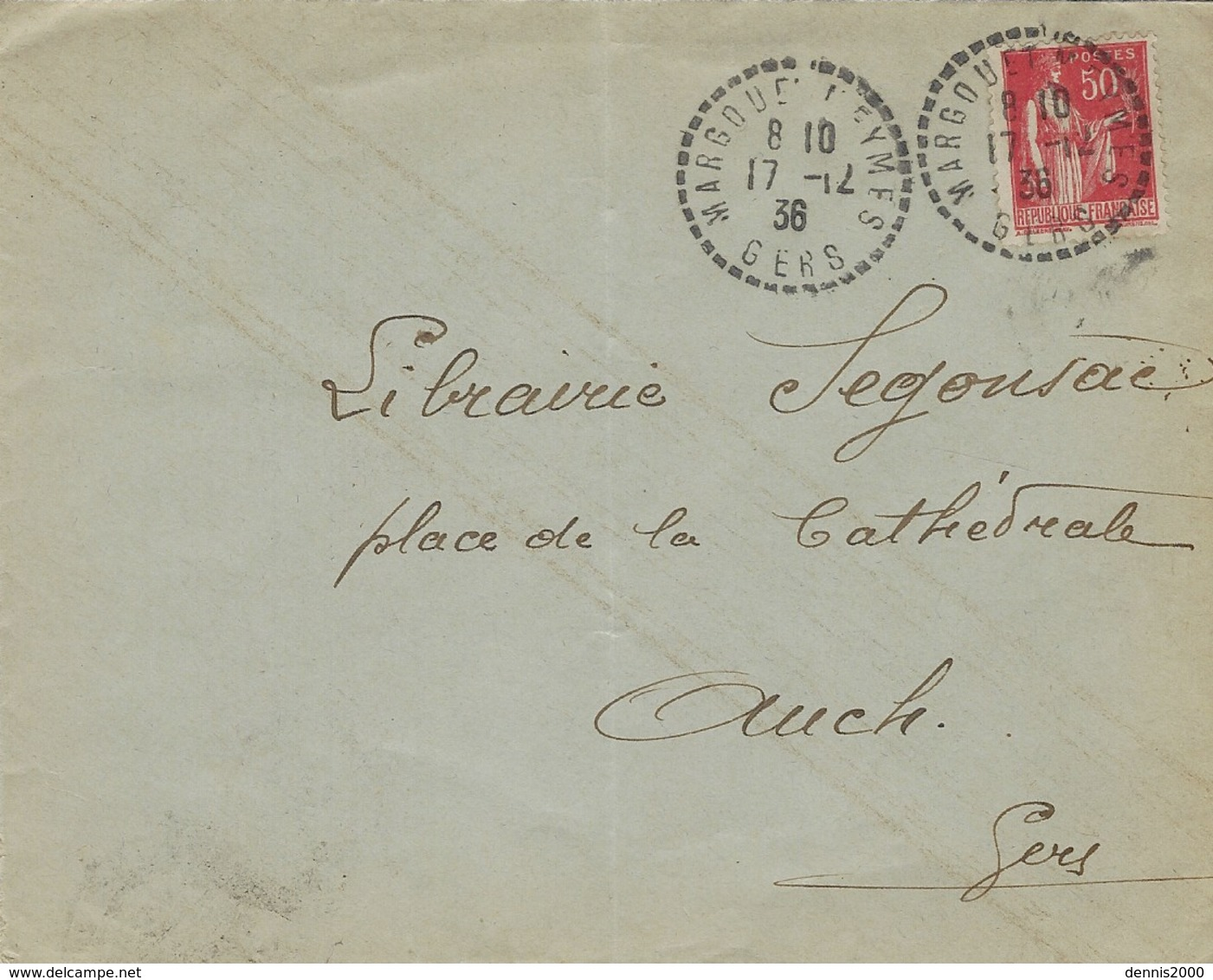 1936- Enveloppe De Margouet Meymes ( Gers )  Cad Facteur-receveur  Sur 50 C Paix - Postmark Collection (Covers)
