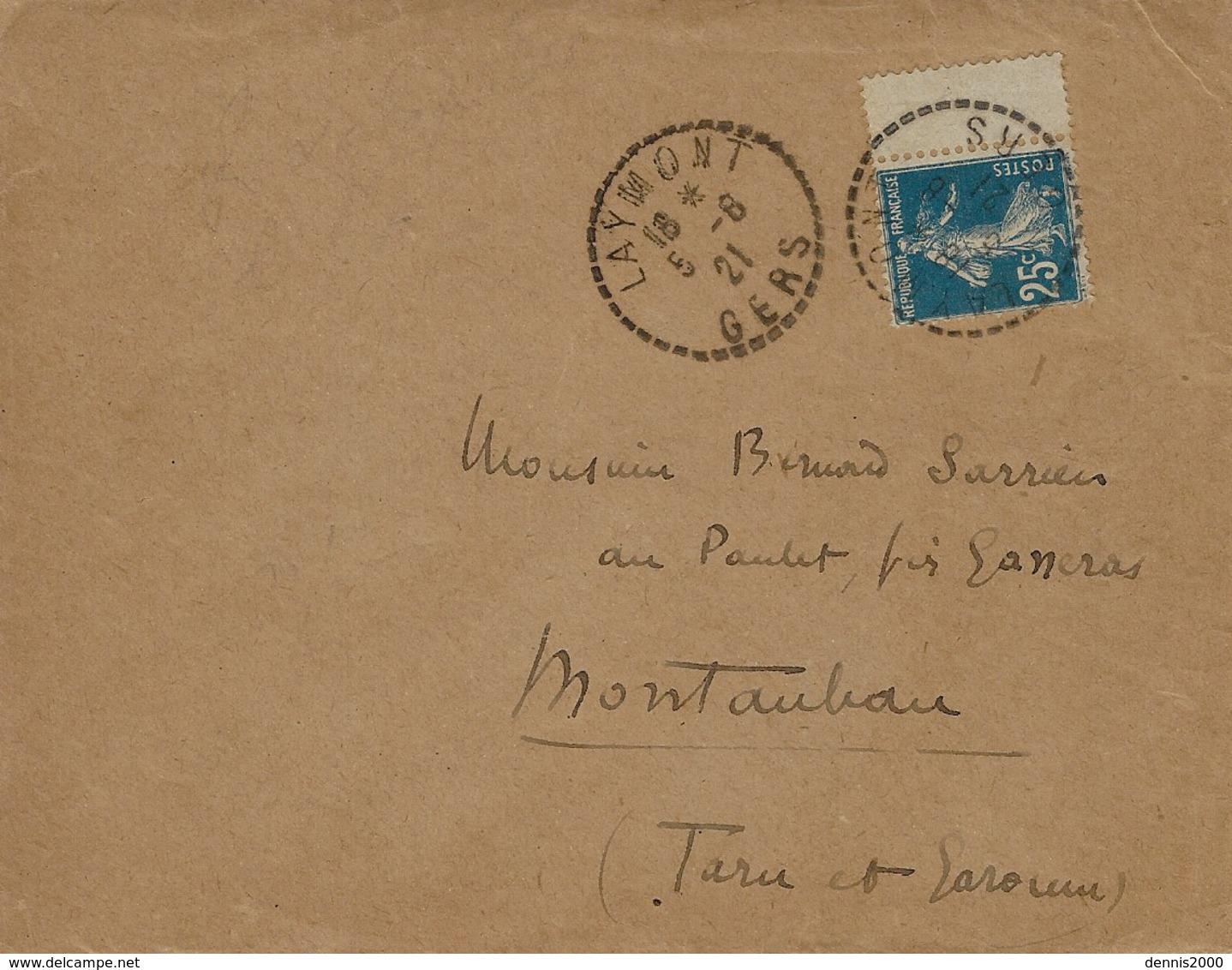 1921- Enveloppe De LAYMONT ( Gers )  Cad Facteur-receveur  Sur 25 C Semeuse - Postmark Collection (Covers)