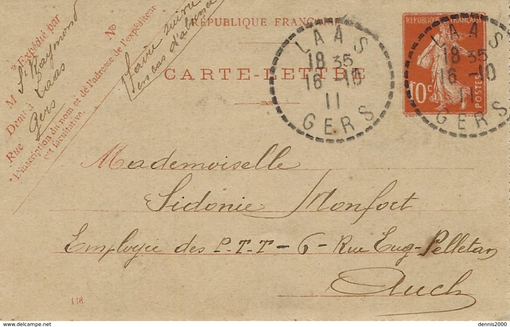 1911- Carte-lettre De LAAS  ( Gers )  Cad Facteur-receveur  Sur  E P 10 C Semeuse - Postmark Collection (Covers)