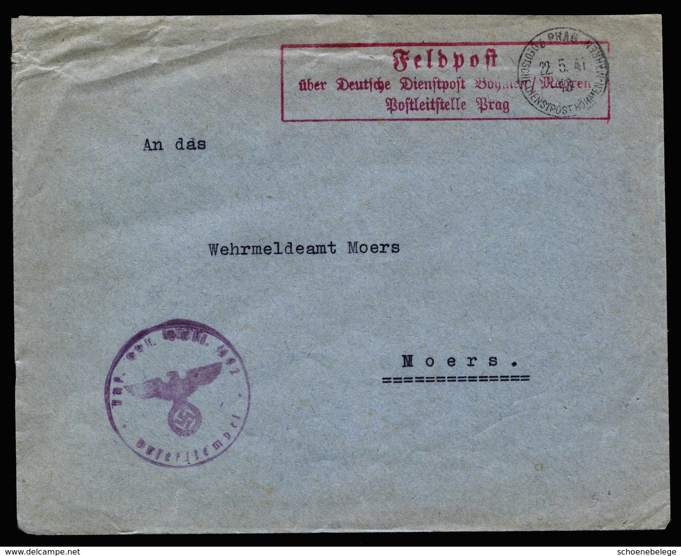 A5783) Böhmen & Mähren Feldpostbrief Prag 22.05.41 N. Moers - Deutschland