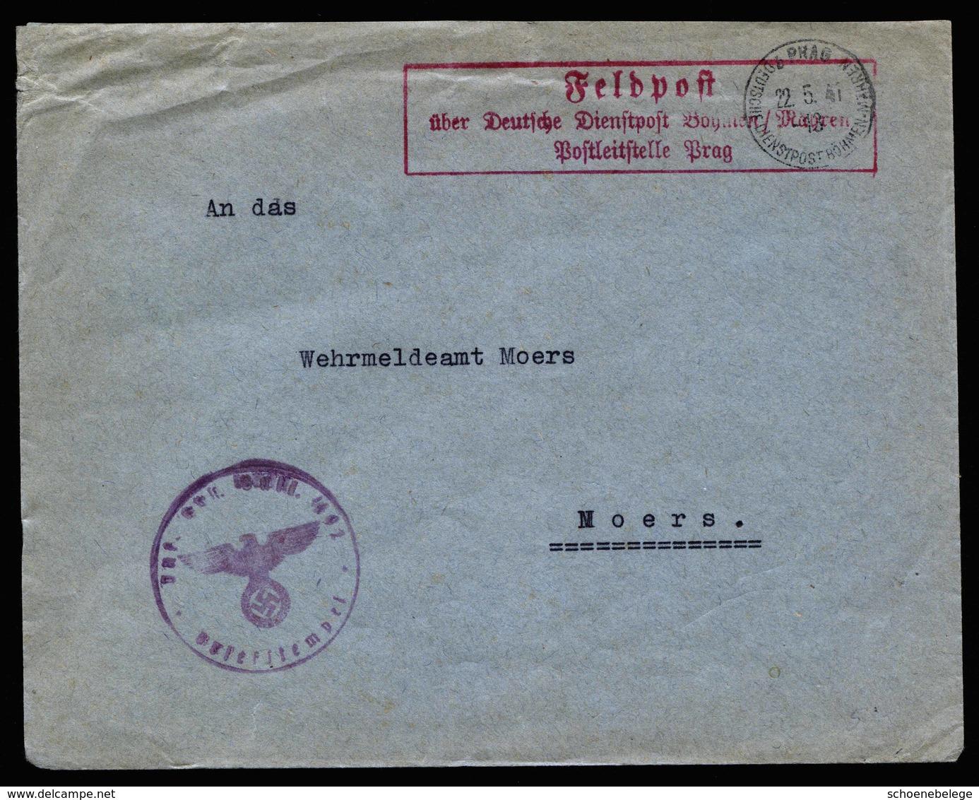 A5783) Böhmen & Mähren Feldpostbrief Prag 22.05.41 N. Moers - Briefe U. Dokumente