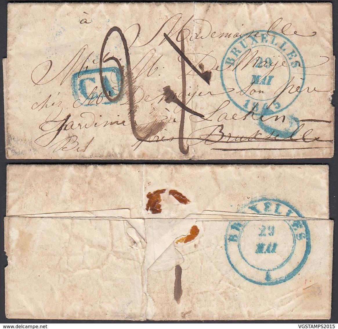 """Belgique 1845 - De Bruxelles Vers Laeken """" CA """" + """" C """" (BE) DC1361 - 1830-1849 (Belgique Indépendante)"""