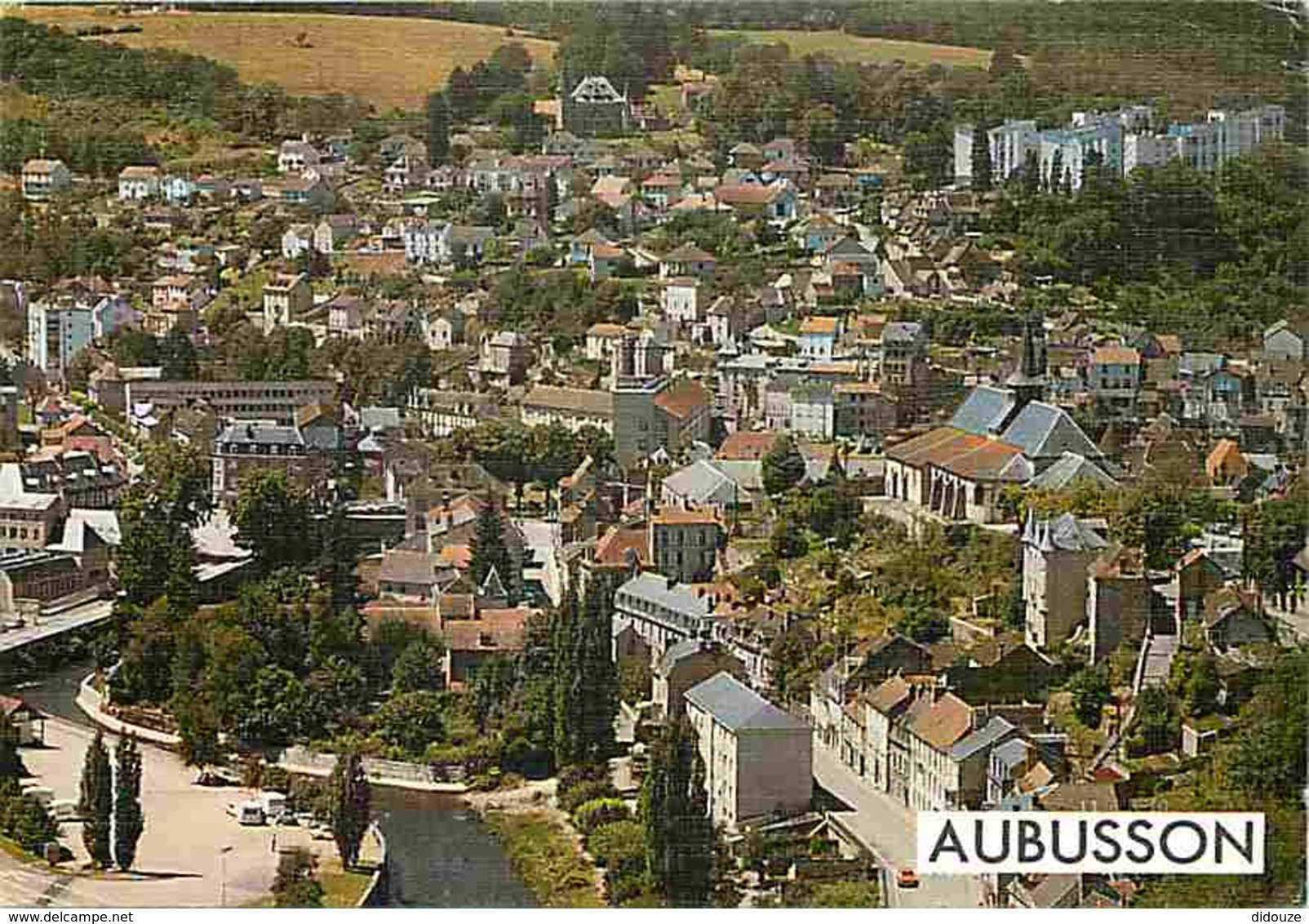 23 - Aubusson - Vue Générale Aérienne - Le Village Traversé Par La Creuse - Flamme Postale De Yenne - Voir Scans Recto-V - Aubusson