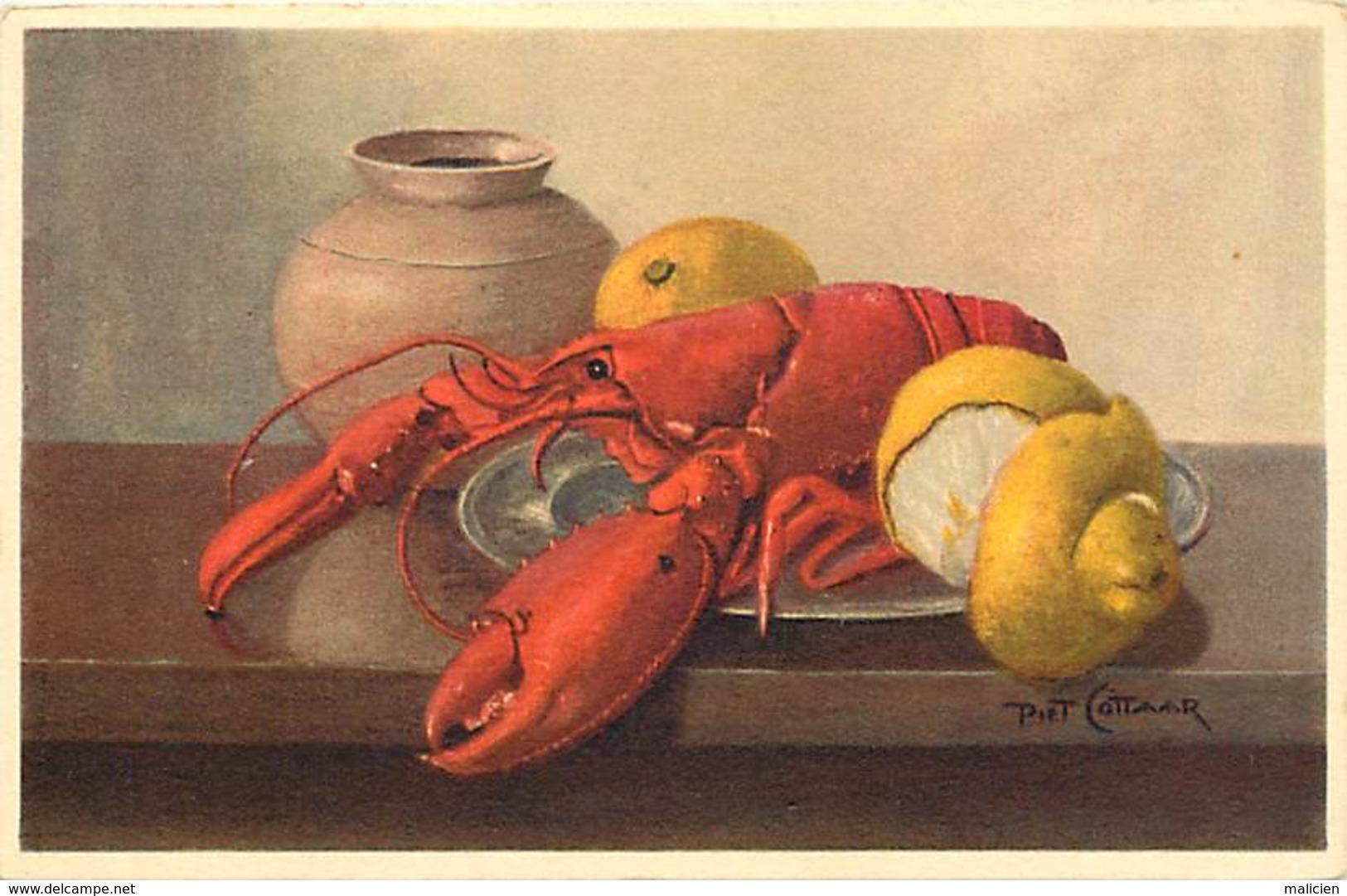 -ref-A972- Illustrateurs - Illustrateur Piet Cottaard -  Cuisine - Crustacés - Crustaces - Homard - Homards - - Illustrateurs & Photographes