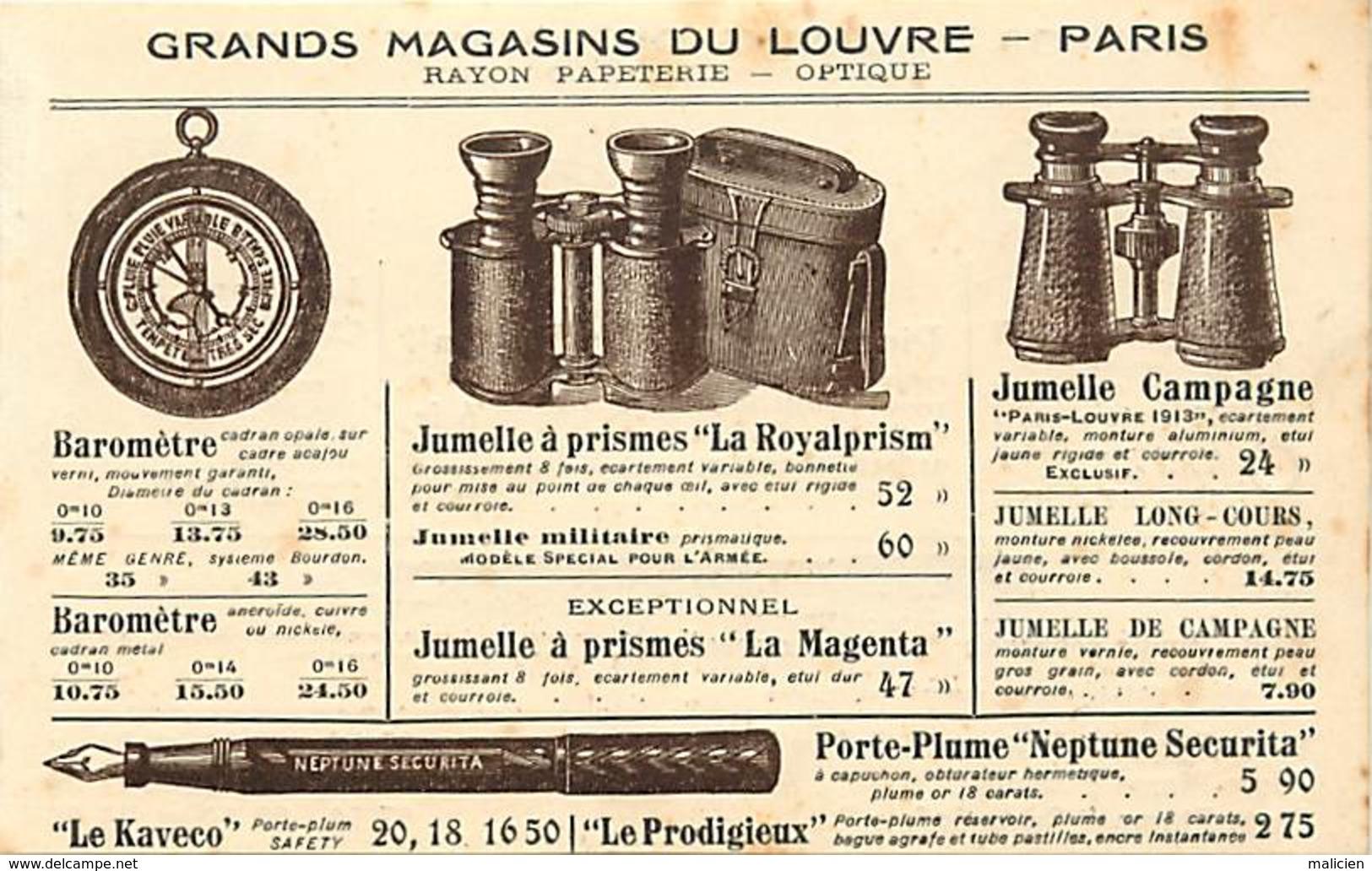 -ref-A968- Magasins - Grands Magasins Du Louvre - Papeterie - Optique - Lunettes - Jumelles - Portes Plume - Publicite - - Magasins