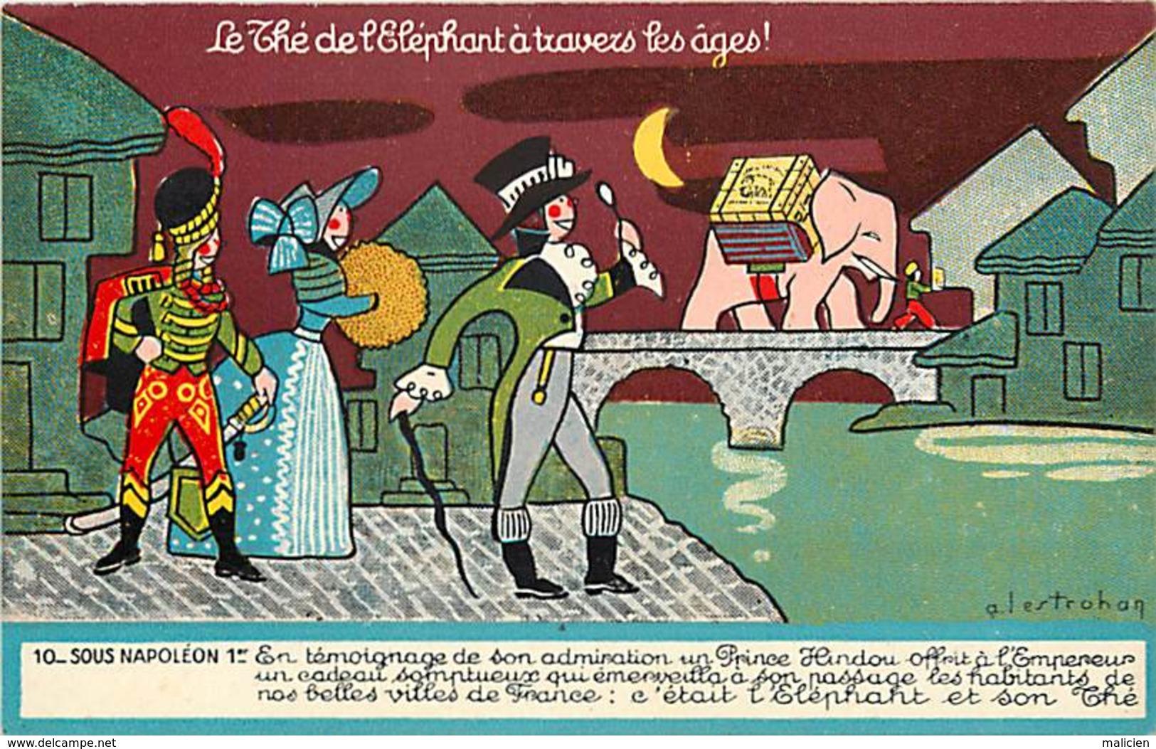 -ref-A966- Publicite - Thé De L Elephant - Sous Napoléon 1er -n° 10 - Thés - Illustateur A. Lestrohan - Illustrateurs - - Publicité