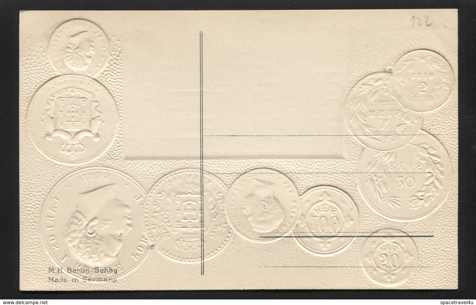 PORTUGAL - Numismatic Postcard - Set Of Coins - Embossed (APAT#122) - Portugal
