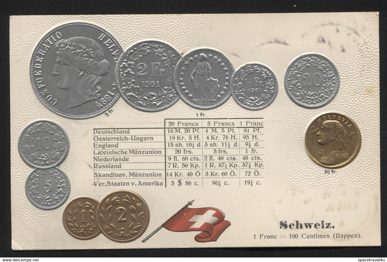 SWITZERLAND  - Numismatic Postcard - Set Of Coins - Embossed (APAT#123) - Switzerland