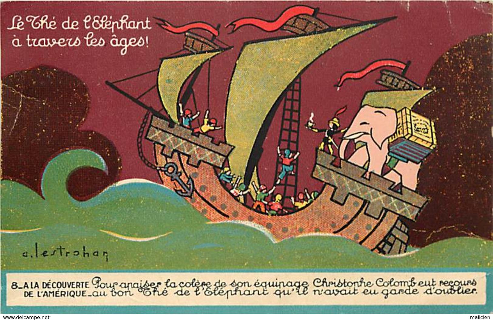 -ref-A965- Publicite - Thé De L Elephant -a La Decouverte De L Amerique  - Thés - Illustateur Lestrohan - Illustrateurs - Publicité