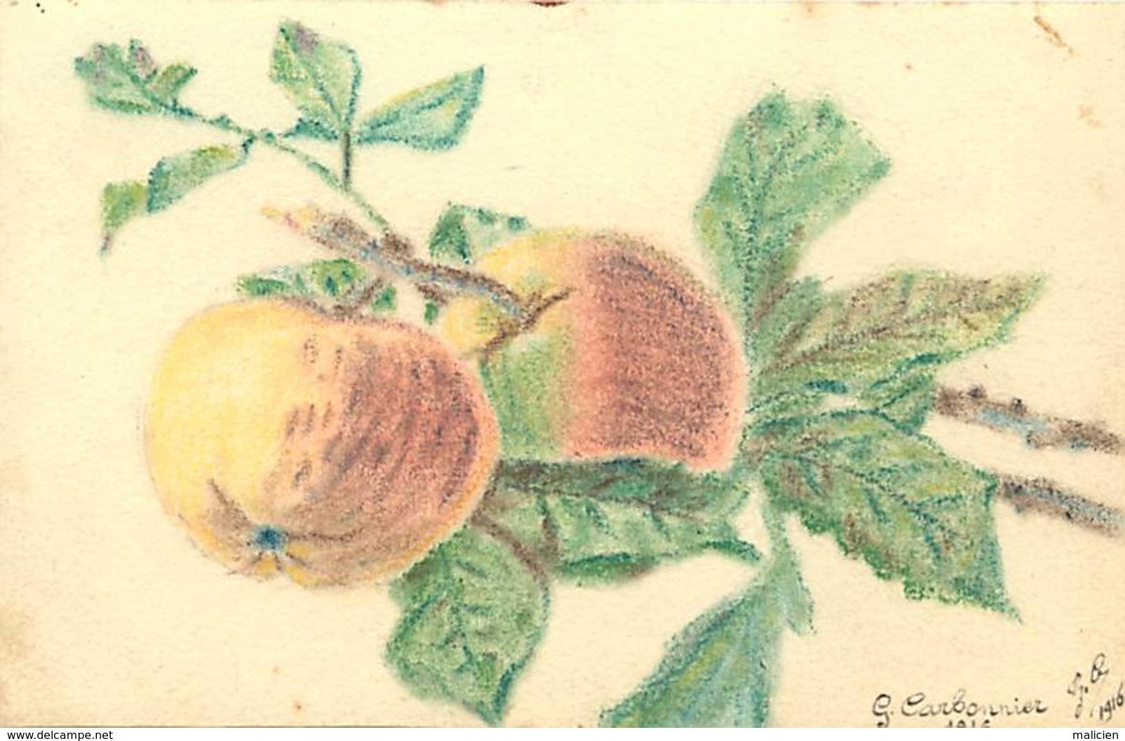 -ref-A958- Illustrateurs - Illustateur G. Carbonnier -1916 - Dessin Sur Papier Dessin - Pommes - Fruits - Guerre 1914-18 - Illustrateurs & Photographes