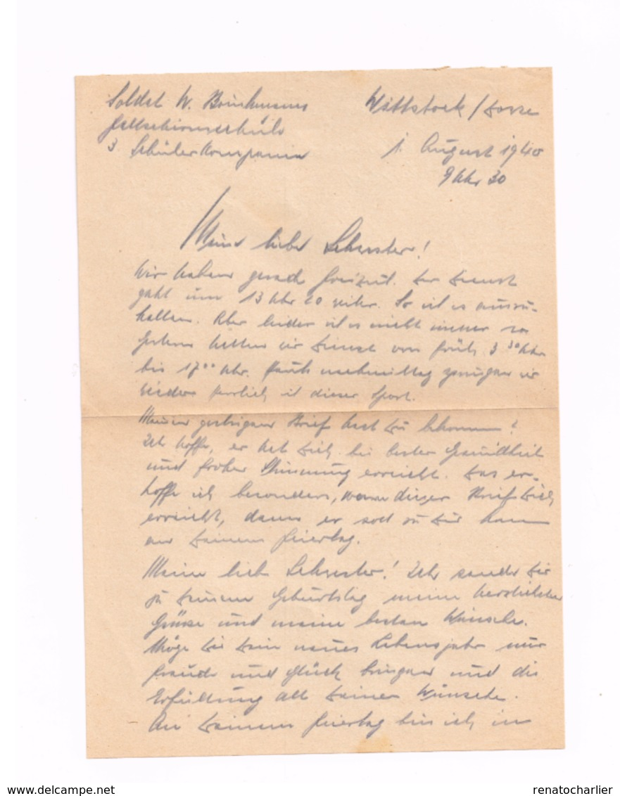 """Lettre """"Feldpost"""" Expédié De Wittstock-Dosse.Courrier à L'intérieur. - Deutschland"""