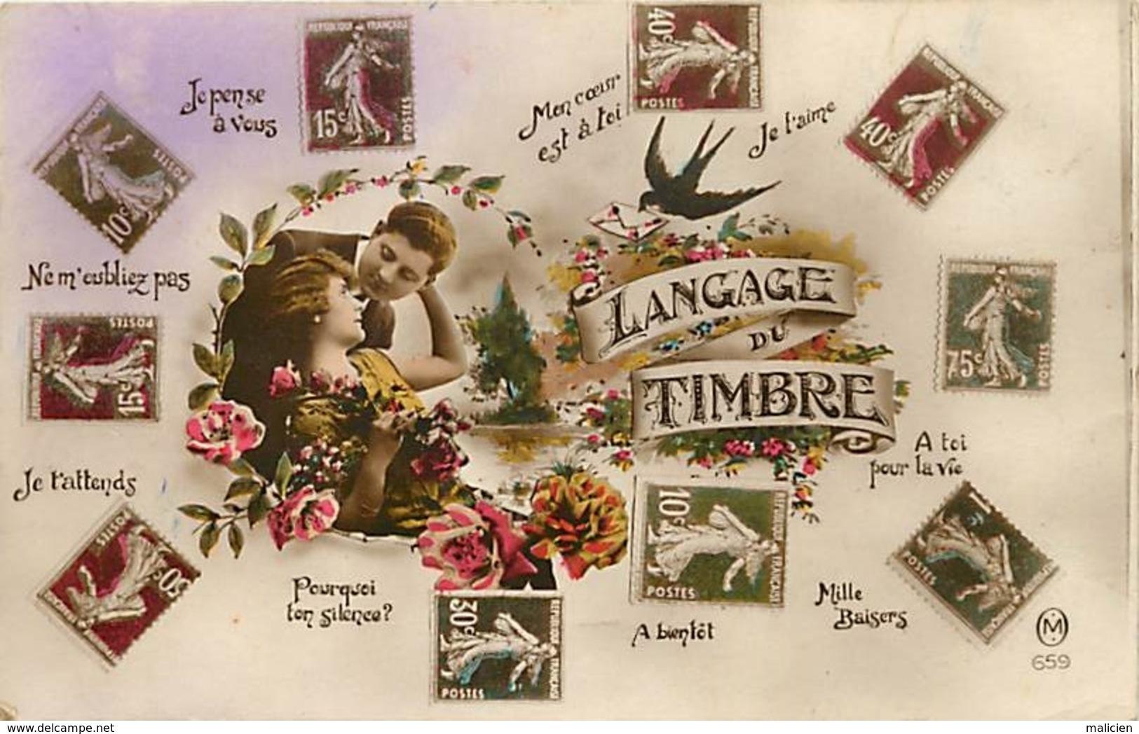 -ref-A950- Timbres - Langage Du Timbre - Langages - Couple - Couples - Carte Bon Etat - - Timbres (représentations)