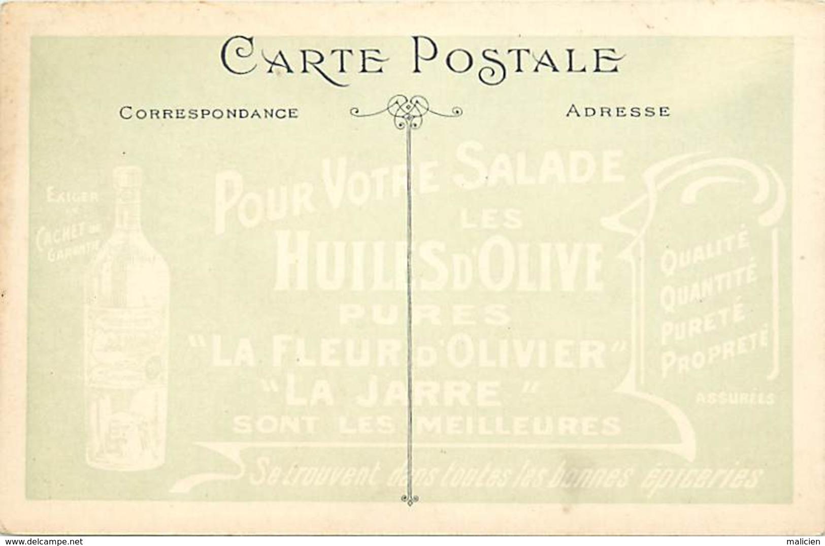 """-ref-A948- Bouches Du Rhone - Marseille - Publicite Huile D Olive  """" La Fleur D Olivier """" - """" La Jarre """" - - Autres"""