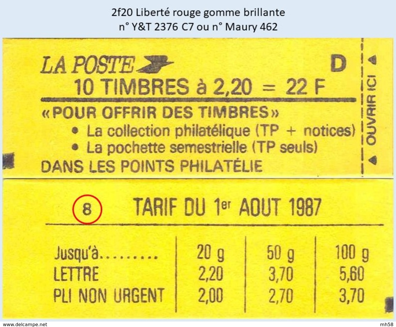 FRANCE - Carnet Conf. 8 - 2f20 Liberté Rouge - YT 2376 C7 / Maury 462 - Carnets
