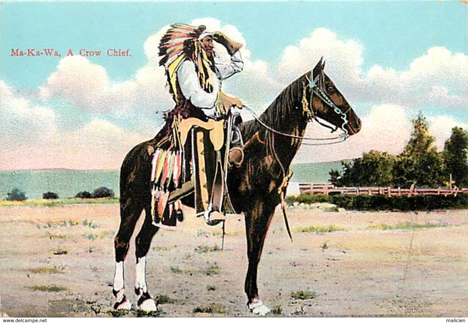 -ref-A934- Indiens De L Amerique Du Nord - Ma Ka Wa   Ma-ka-wa - A Crow Chief - Indien - Carte Bon Etat - - Indiens De L'Amerique Du Nord