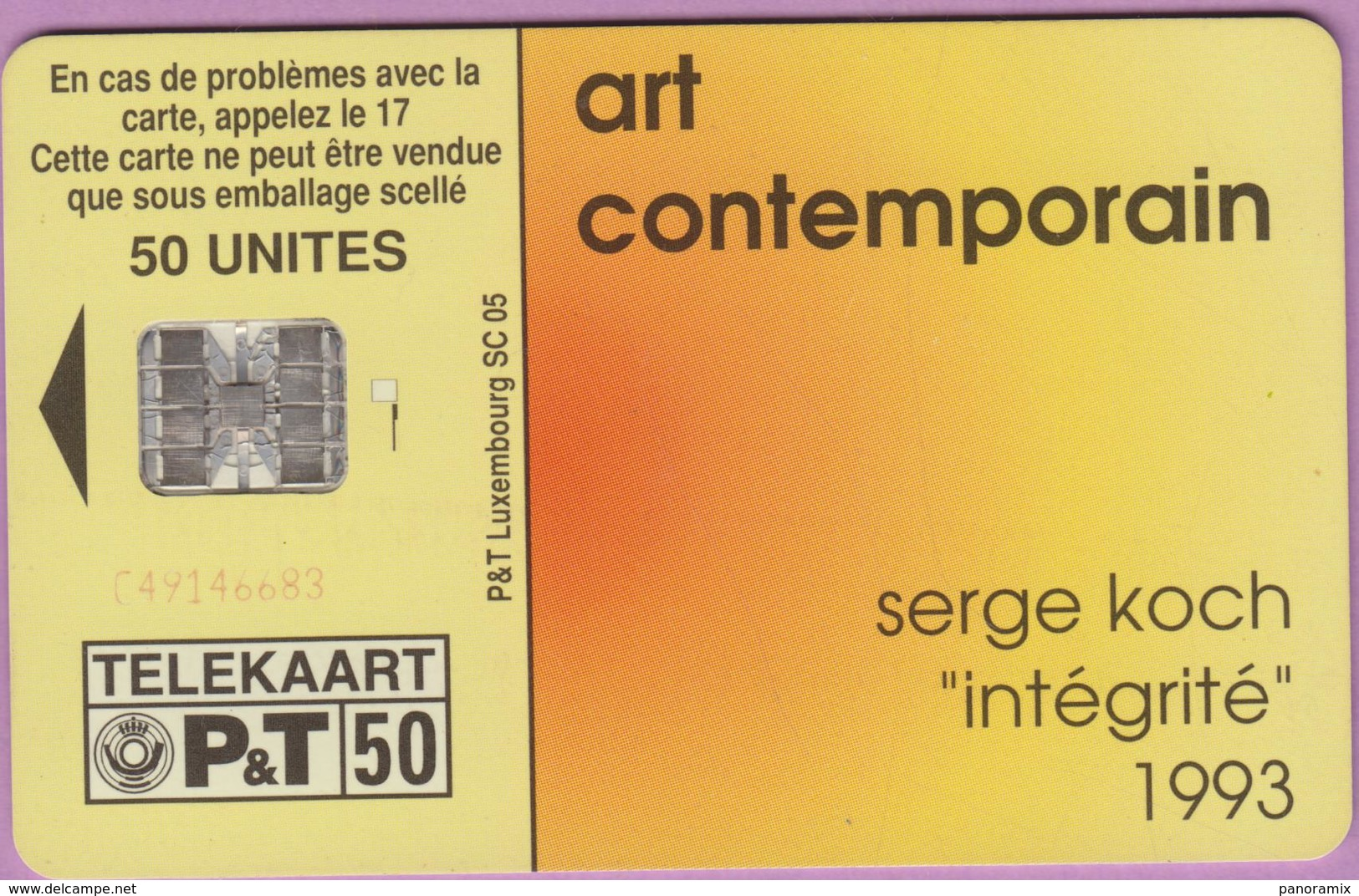 Télécarte Luxembourg °° SC05 - Peintre S Koch -Sc7.6683m - 50u - 1995 -V. - Luxembourg