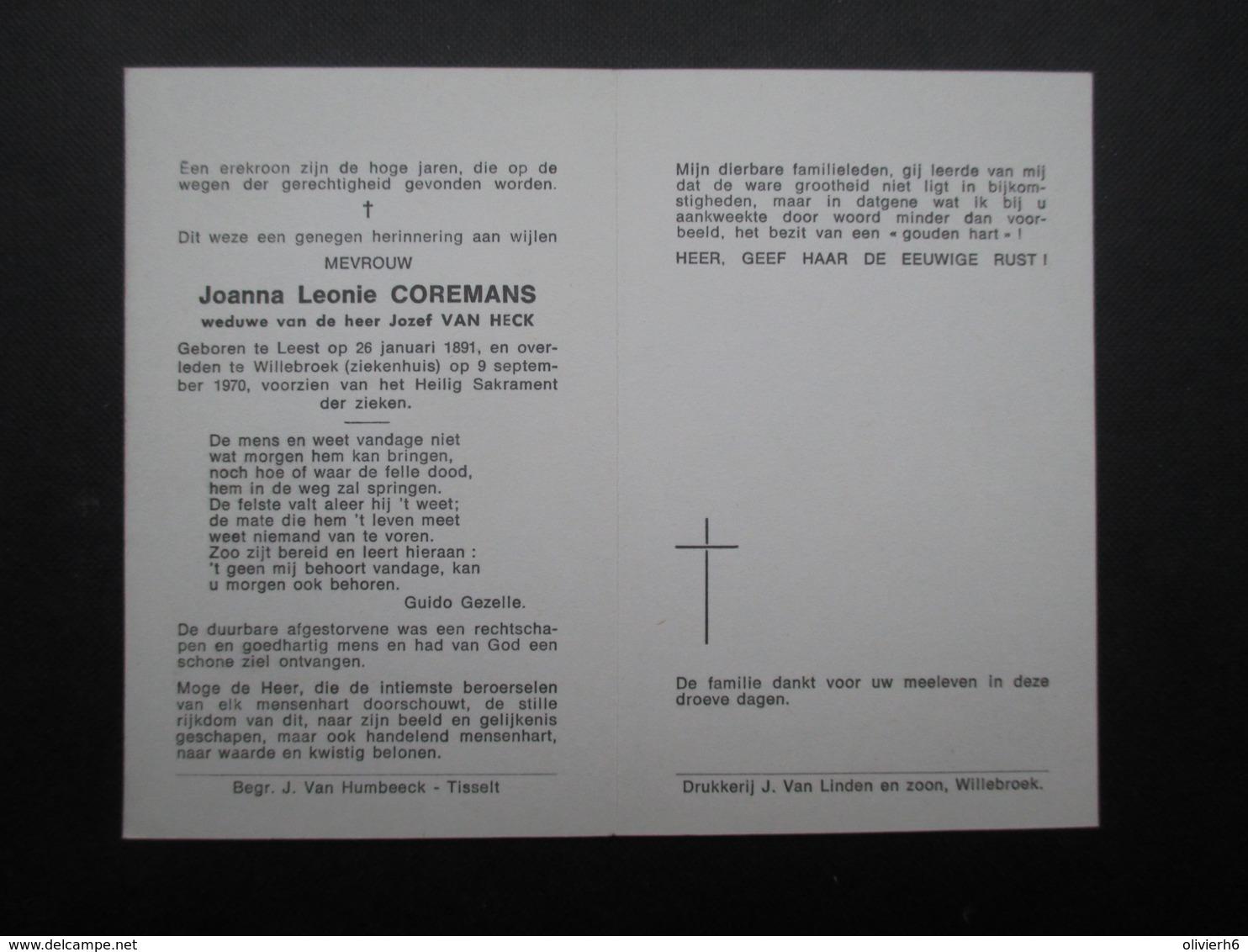 VP BELGIQUE (M1902) DOODSPRENTJE (2 Vues) JOANNA LEONIE COREMANS * LEEST 26/01/1891 - WILLEBROEK 9/9/1970 - Décès